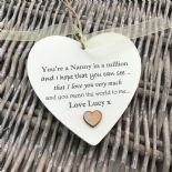 Shabby personalised Gift Chic Heart Plaque Special Nanny ~ Nana Or ANY NAME Gift - 253984905290